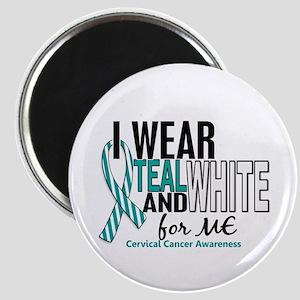 I Wear Teal White 10 Cervical Cancer Magnet