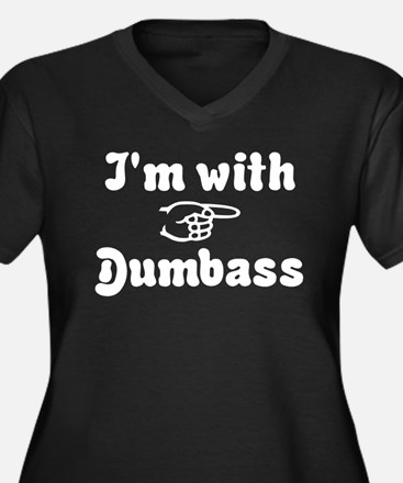 I'm with Dumbass Women's Plus Size V-Neck Dark T-S