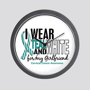 I Wear Teal White 10 Cervical Cancer Wall Clock