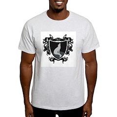 Black Wolf Shield Ash Grey T-Shirt