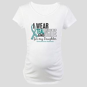 I Wear Teal White 10 Cervical Cancer Maternity T-S