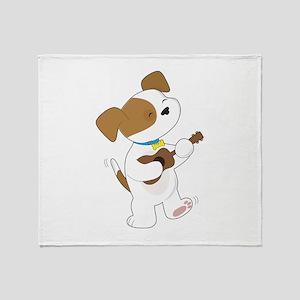 Cute Puppy Ukulele Throw Blanket