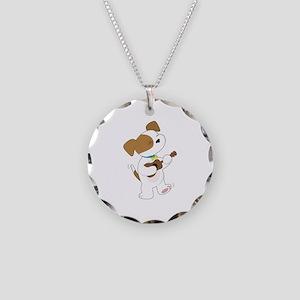 Cute Puppy Ukulele Necklace Circle Charm