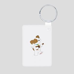Cute Puppy Ukulele Aluminum Photo Keychain