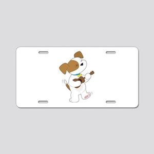 Cute Puppy Ukulele Aluminum License Plate