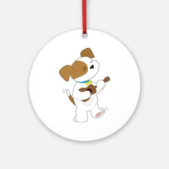 Cute Puppy Ukulele Ornament (Round)