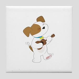 Cute Puppy Ukulele Tile Coaster