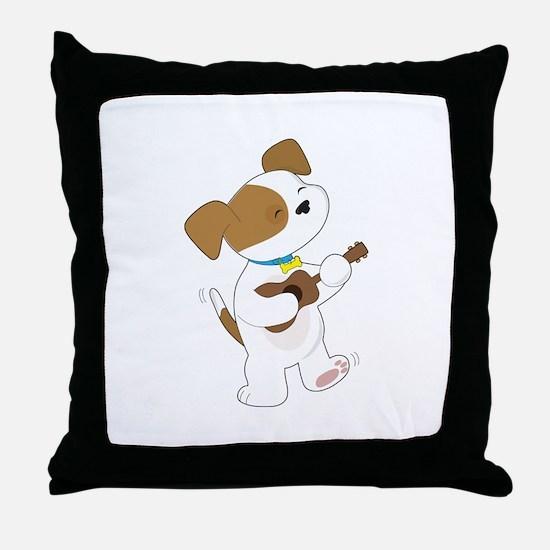 Cute Puppy Ukulele Throw Pillow