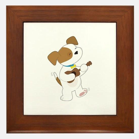 Cute Puppy Ukulele Framed Tile