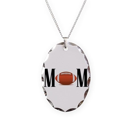 Football Mom Necklace Oval Charm