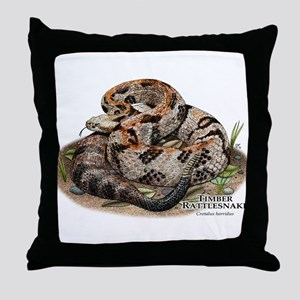 Timber or Canebrake Rattlesnake Throw Pillow