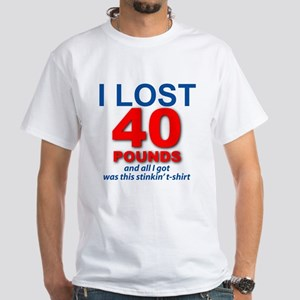 I Lost 40 White T-Shirt