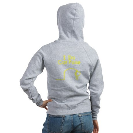 Yellow Cat Pose Women's Zip Hoodie