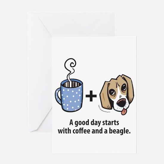 Coffee and a beagle Greeting Card
