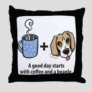 Coffee and a beagle Throw Pillow