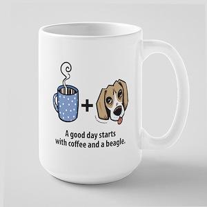 Coffee and a beagle Large Mug