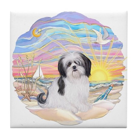 OceanSunrise-ShihTzu#1 Tile Coaster