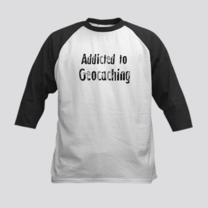 Addicted to Geocaching Kids Baseball Jersey