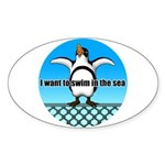Penguin2 Sticker (Oval 10 pk)