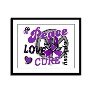 Peace Love Cure 2 Epilepsy Framed Panel Print
