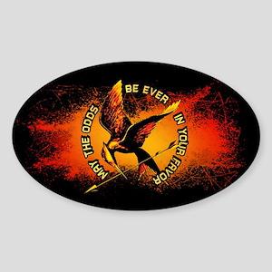 Grunge Hunger Games Sticker (Oval)