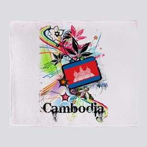 Flower Cambodia Throw Blanket