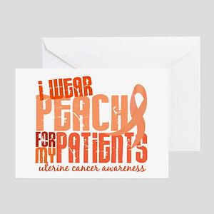 I Wear Peach 6.4 Uterine Cancer Greeting Card