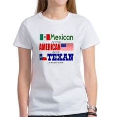 T-Shirt - Mexican Heritage/Texan - Women's White