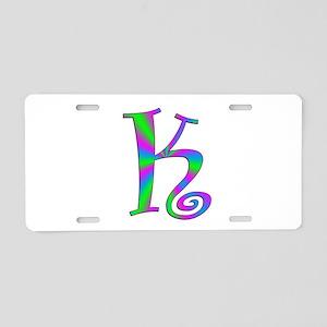 K Monogram Aluminum License Plate