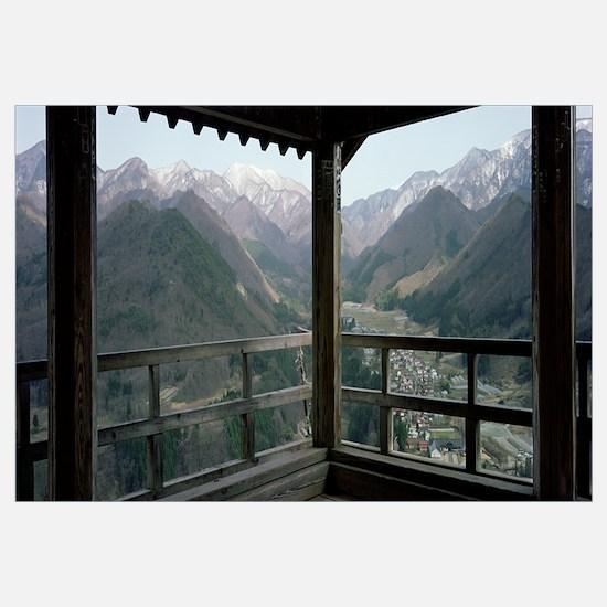 Mountain range from a balcony, Yamadera, Yamagata