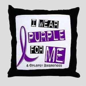 I Wear Purple 37 Epilepsy Throw Pillow