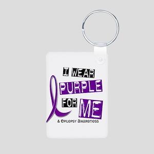 I Wear Purple 37 Epilepsy Aluminum Photo Keychain