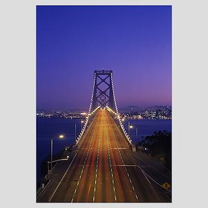 High angle view of a suspension bridge illuminated