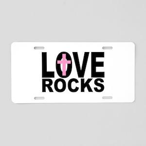 LOVE ROCKS CROSS Aluminum License Plate