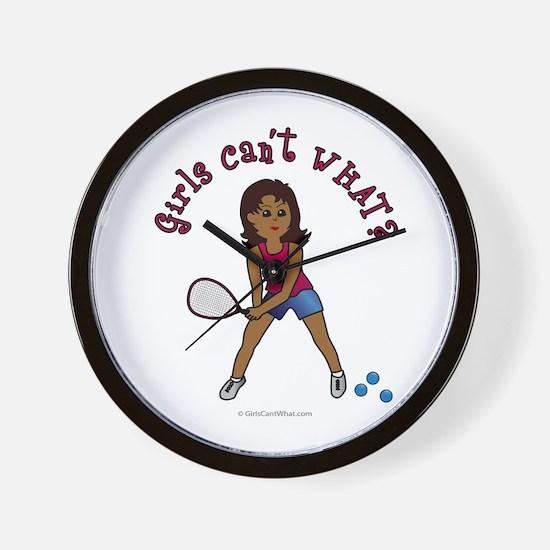 Racquetball Girl (Dark) Wall Clock