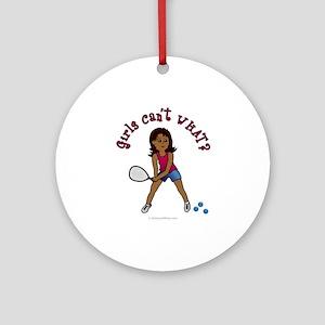 Racquetball Girl (Dark) Ornament (Round)