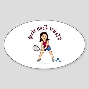 Racquetball Girl (Light) Sticker (Oval)