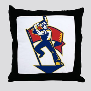 communist worker Throw Pillow