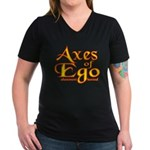 Axes logo 3 Women's V-Neck Dark T-Shirt