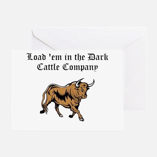 Load em in Dark Cattle Compan Greeting Card