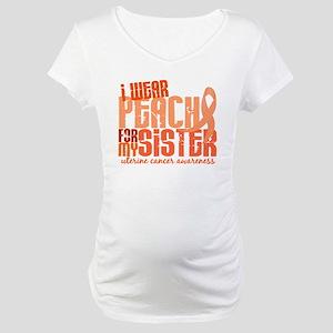 I Wear Peach 6.4 Uterine Cancer Maternity T-Shirt