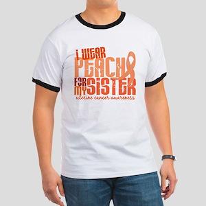I Wear Peach 6.4 Uterine Cancer Ringer T