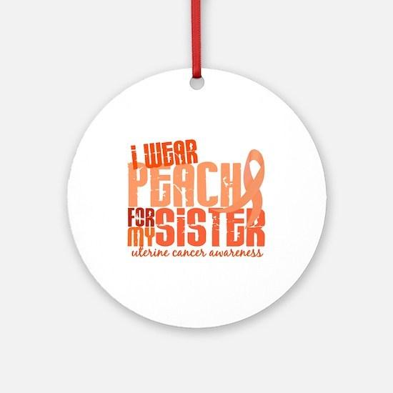 I Wear Peach 6.4 Uterine Cancer Ornament (Round)