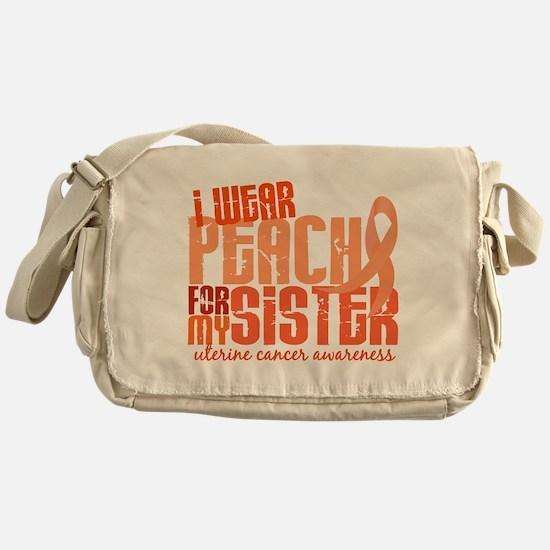 I Wear Peach 6.4 Uterine Cancer Messenger Bag