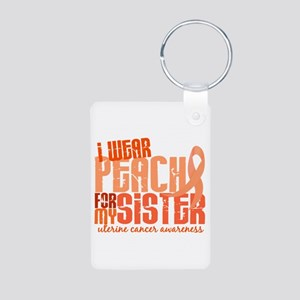 I Wear Peach 6.4 Uterine Cancer Aluminum Photo Key