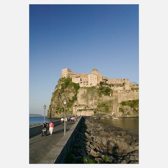 Tourists walking on a bridge, Castello Aragonese d
