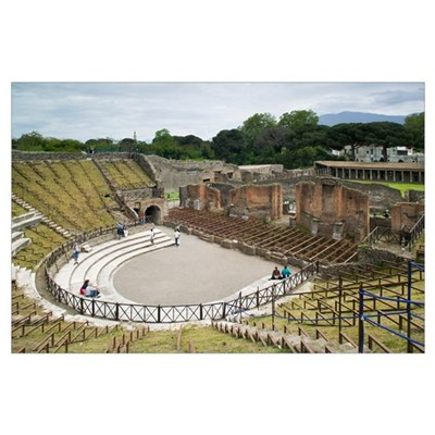 High angle view of tourists at an amphitheater, Te Poster