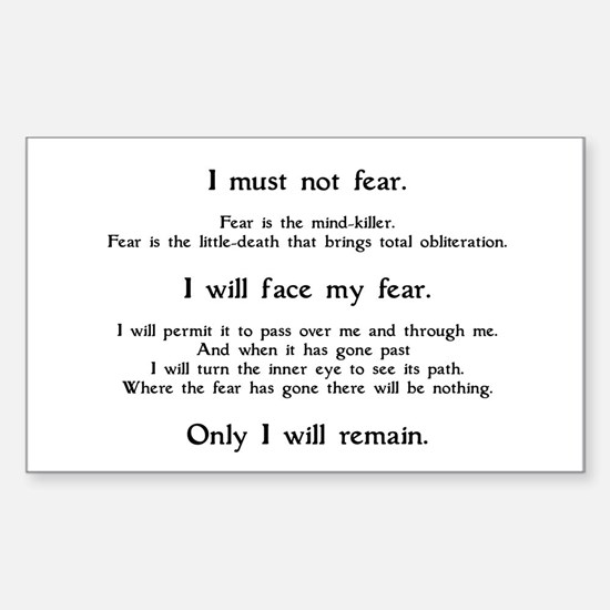 Litany Against Fear Sticker (Rectangle)