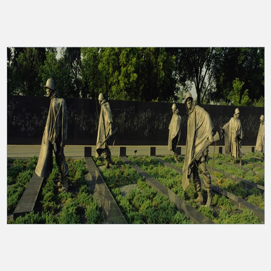 Statues of army soldiers in a park, Korean War Vet