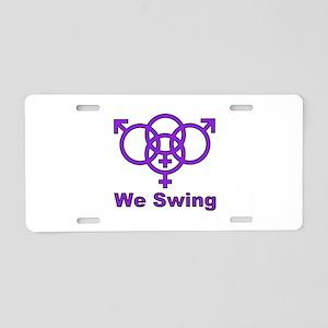 "Swinger Symbol-""We Swing"" Aluminum License Plate"